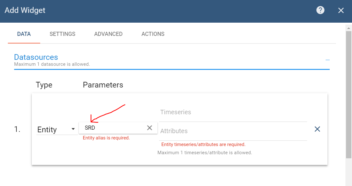 Add datasource of widget, Thingsboard
